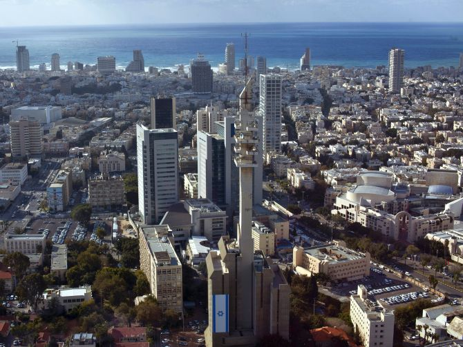 A general view shows central Tel Aviv backed by the Mediterranean Sea.