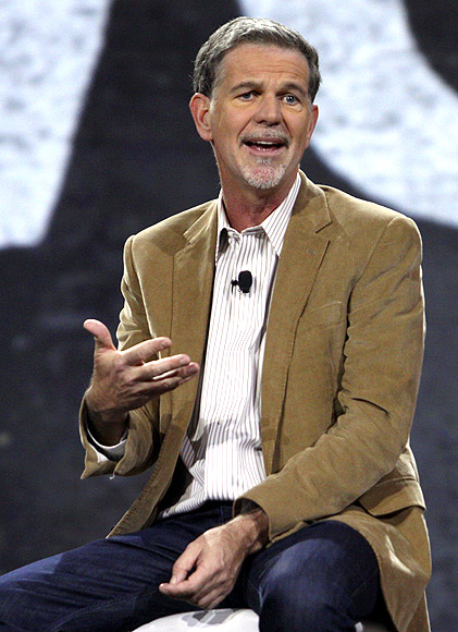 Netflix CEO Reed Hastings speaks during a keynote speech with Amazon Senior Vice President Andy Jassy at the Re:Invent conference at the Sands Expo in Las Vegas, Nevada.
