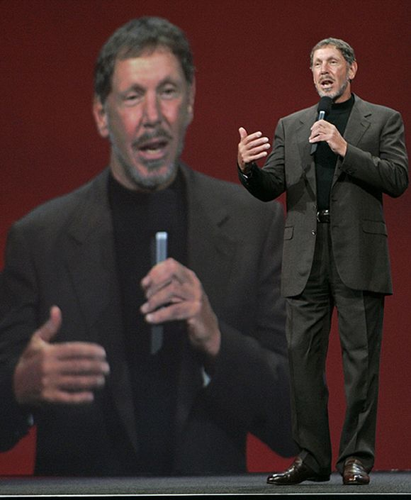 Oracle CEO Larry Ellison delivers his keynote address at Oracle OpenWorld in San Francisco.
