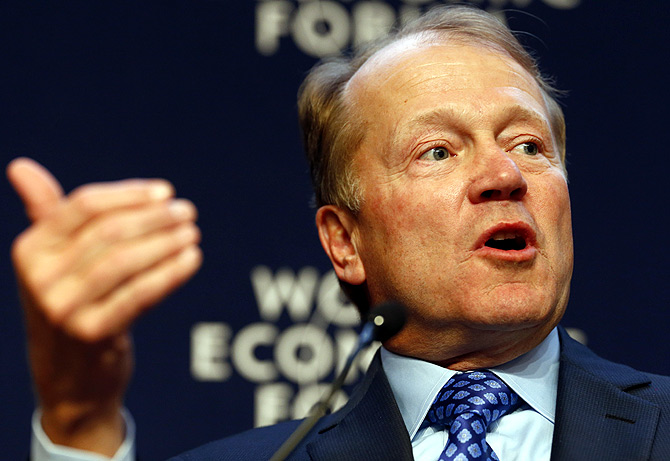 John T. Chambers, Chairman and Chief Executive Officer of Cisco, speaks during a session at the annual meeting of the World Economic Forum (WEF) in Davos.