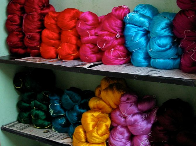 Wonderfully bright silk yarn waiting to be hand-woven into finely crafted saris in Tamil Nadu.