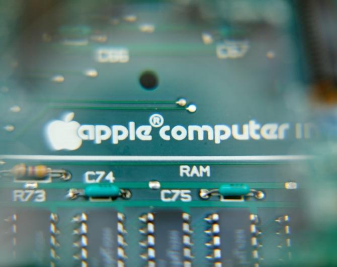 An Apple Macintosh SE computer logic board is seen at B&R Computer Service shop in San Diego, California.