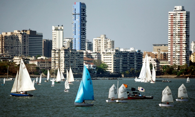 Boats sail during an international boat show in Mumbai.