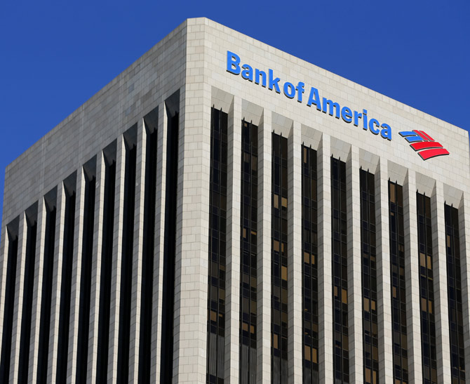 A  Bank of America sign is shown on a building in downtown Los Angeles, California.