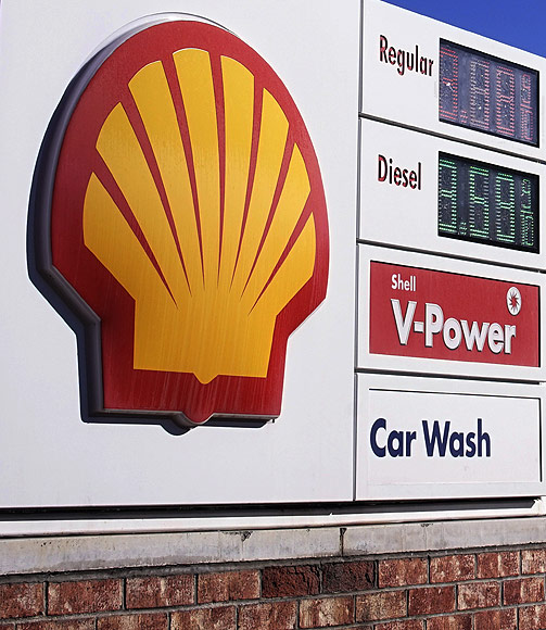 The Shell logo sign is seen at one of its gas station.