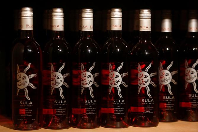 Bottles of Sula Zinfandel Rose.