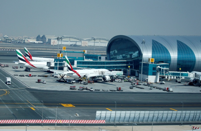 Emirates Airlines aircraft are seen near concourse A at the Emirates Terminal at Dubai International Airport.