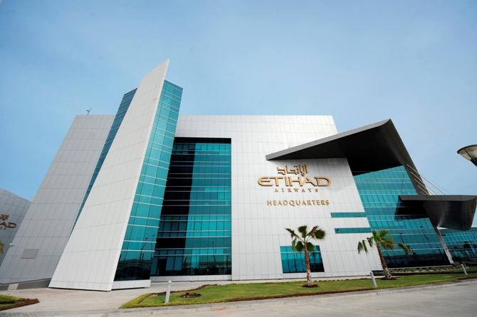The Etihad Airways headquarters is pictured in Abu Dhabi.