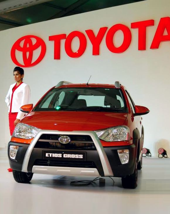 Etios Cross at the Indian Auto Expo 2014.