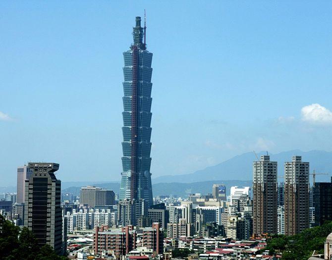 Taiwan's landmark, the Taipei 101, towers over Taipei's skyline.