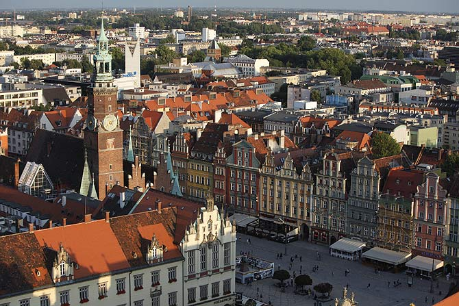 Panoramic view of Old Town in Wroclaw, south-western Poland.