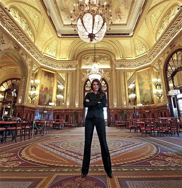 Agata Babagelata of Poland, a casino public relations employee, poses in the Salle Medecin at the Casino de Monte Carlo in Monaco.