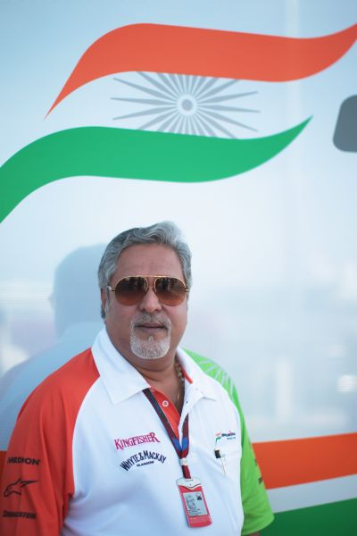 Force India team owner Vijay Mallya is seen during practice for the European Formula One Grand Prix.