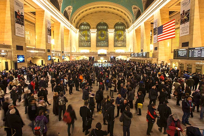 Passengers await in the main concourse of Grand Central Terminal to catch their trains in the Manhattan borough of New York.
