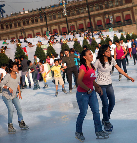 Ice skaters are seen on an ice skating rink in Mexico City's historic Zocalo square.