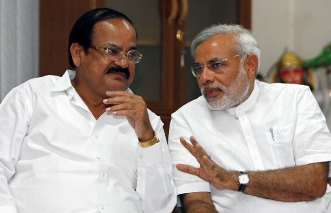 Urban Development and Housing and Poverty Alleviation Minister Venkaiah Naidu with Prime Minister Narendra Modi.