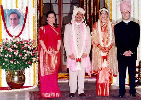 Sonia Gandhi and Rahul with Vadra and Priyanka during their wedding in 1997