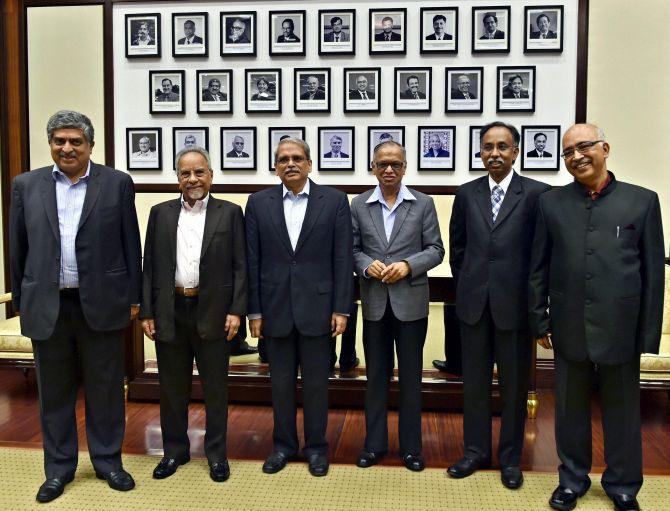 Infosys Founders, from left Nandan Nilekani, N S Raghavan, Kris Gopalakrishnan, N R Narayanmurthy, S D Shibulal and K Dinesh. Photograph: Shailendra Bhojak/PTI