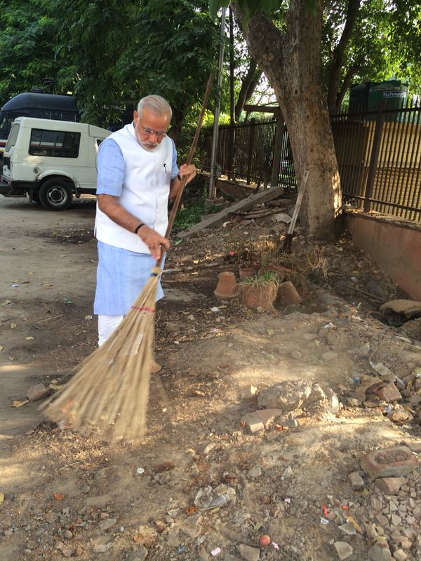 Prime Minister Narendra Modi launches the Swachh Bharat Mission.