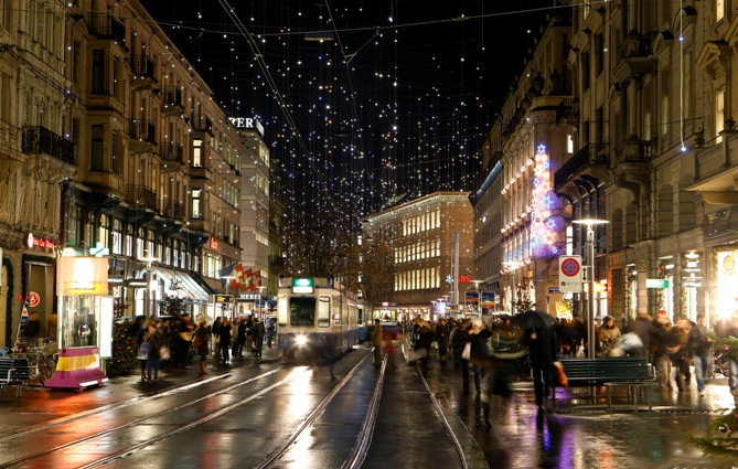 Christmas illuminations light the Bahnhofstrasse shopping street in Zurich.