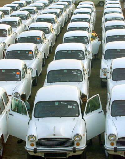 Rows of Ambassador cars are seen at the Hindustan Motors plant in Hindmotors.