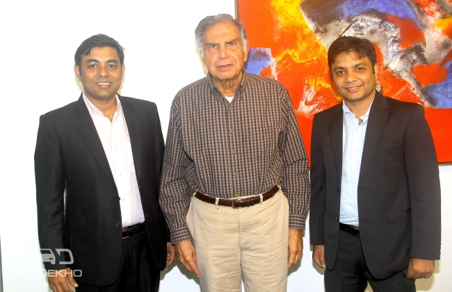 (From left to right) Amit Jain, CEO & Co-founder, Girnar Software, Ratan Tata, chairman emeritus of Tata Group and Anurag Jain, Co-founder, Girnar Software