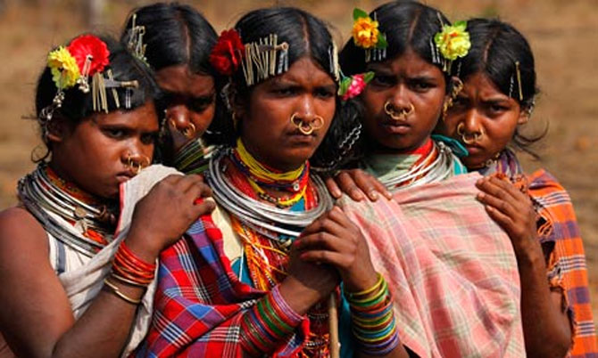 Dongria Kondh tribe from the Niyamgiri hills in Odisha. Photograph Reinhard Krause/Reuters.