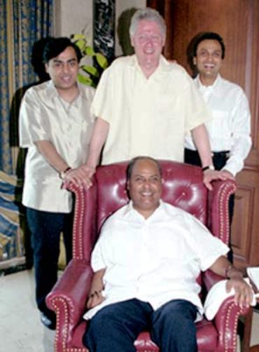 Image: Dhirubhai Ambani along with then US President Bill CLinton. Dhirubhai is flanked by his sons.