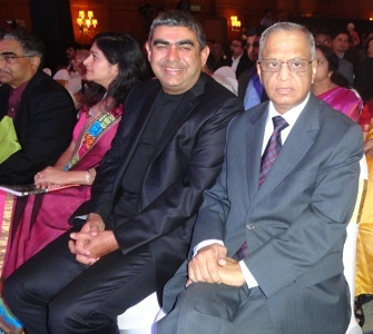 Infosys CEO Vishal Sikka and its founder N R Narayana Murthy