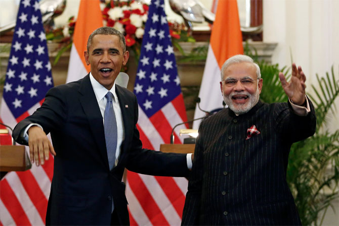 Prime Minister Narendra Modi, right, with then US President Barack Obama in New Delhi, January 25, 2015.