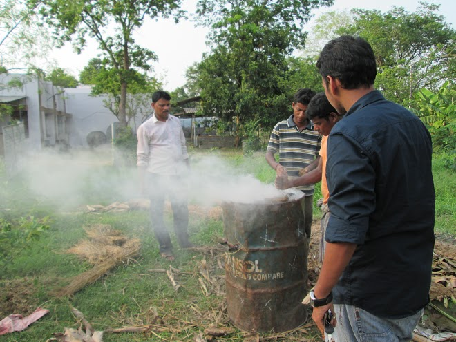 Abhishek Singhania (extreme right clockwise) experimenting with biochar