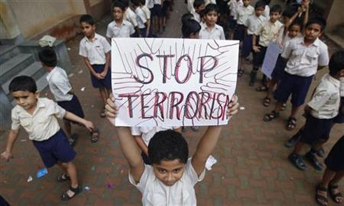 A student in a peace march in Mumbai