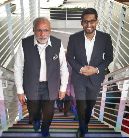 Google CEO Sunder Pichai seen here with Prime Minister Narendra Modi during the Indian leader's visit to the Google headquarters in September 2015.