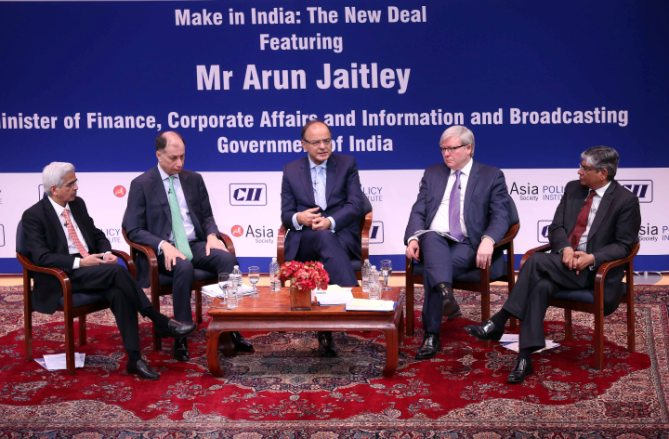 IMAGE: (From left) Shaktikanta Das, Secretary of the Department of Economic Affairs in the Indian Ministry of Finance, Naushad Forbes, CII President, Arun Jaitley, Minister of Finance, Corporate Affairs, and Information and Broadcasting in the Government of India, Kevin Rudd, ASPI President and Arun Kumar Singh, Ambassador of India to the US at Asia Society New York, April 18 2016. Photograph: Paresh Gandhi/Rediff.com