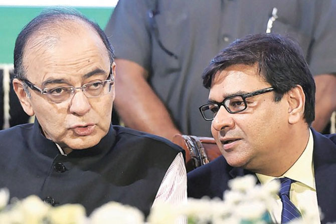 Finance Minister Arun Jaitley and Reserve Bank of India Governor Dr Urjit Patel. Photograph: PTI