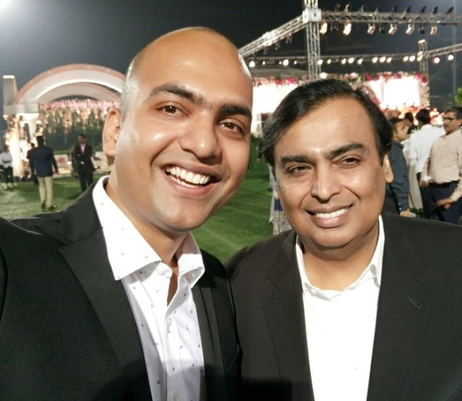 A selfie with the most powerful businessman in India, Mukesh Ambani