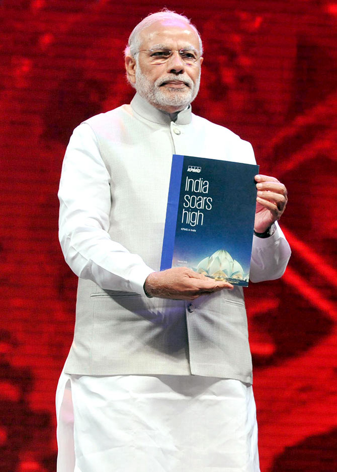 Prime Minister Narendra Modi at the inauguration of the Make in India Week in Mumbai on February 13, 2016.