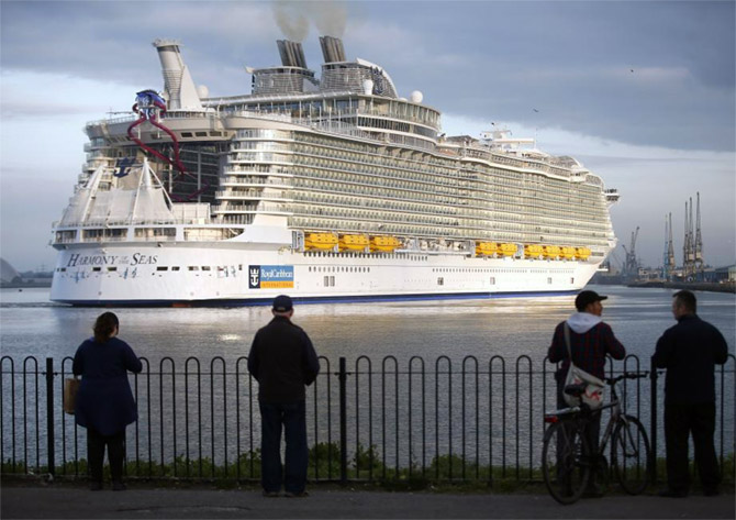 The world's largest cruise ship, the Harmony of the Seas, arrives for her maiden voyage in Southampton, Britain. Photograph: Peter Nicholls/Reuters