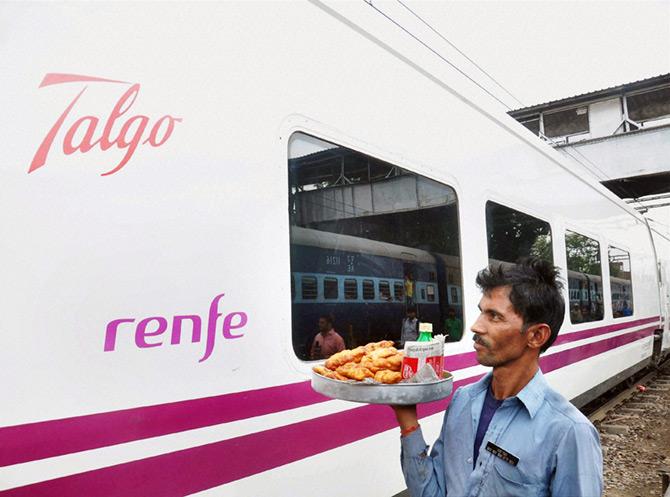 High-speed Spanish Talgo train hits the tracks