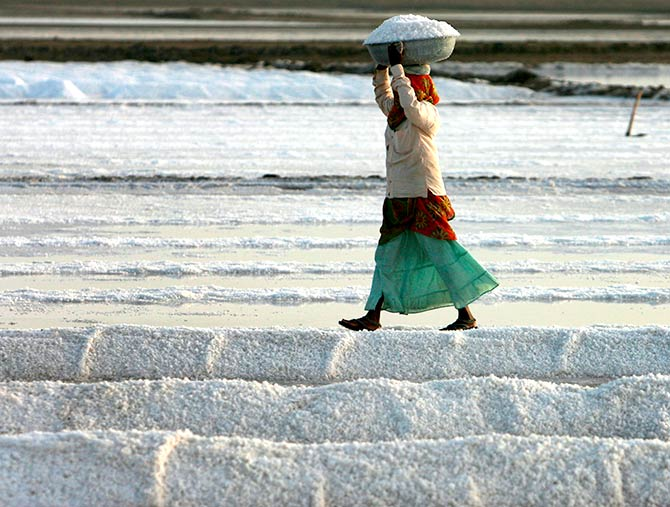 A salt pan worker