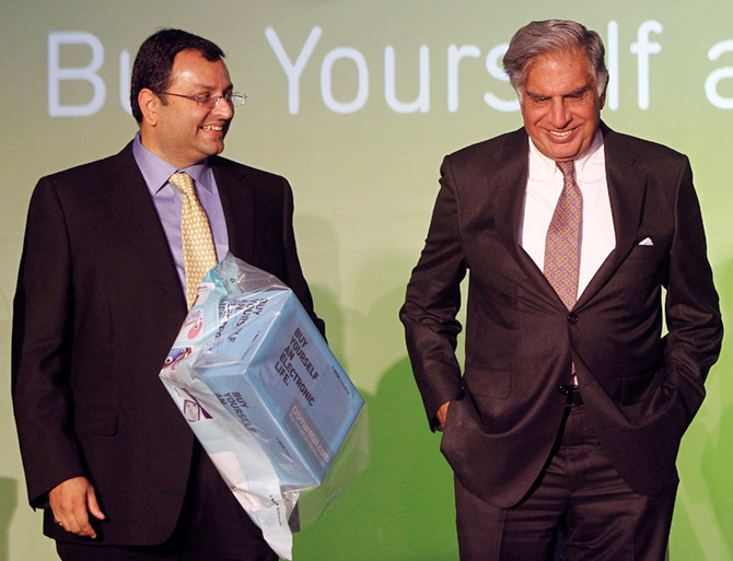 April 23, 2012, Cyrus Mistry, then deputy chairman of the Tata group, with Ratan Tata, then and now chairman, Tata Sons