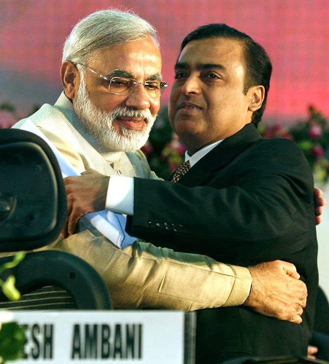 Modi and Mukesh Ambani