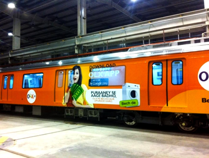 Vinyl-wrap railway advertising