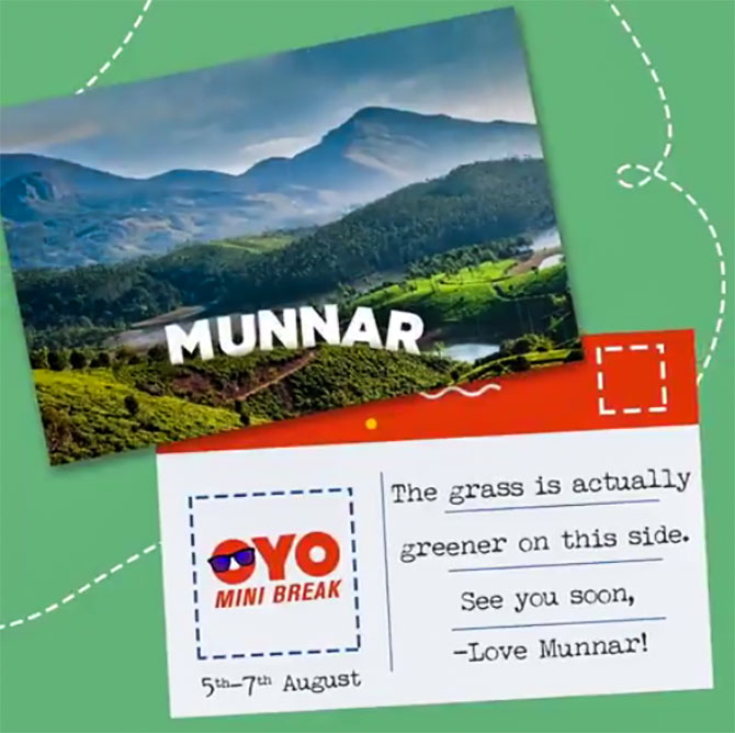 Oyo rooms invitation to Munnar