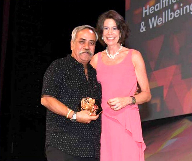 Ogilvy head honcho Piyush Pandey receiving an award in Cannes for the Savlon Healthy Hands Chalk Sticks campaign in June this year. The agency picked up nine Lions. Photo: @IMPACT_onnet/Twitter