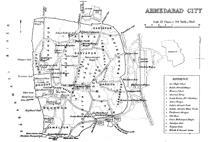 An 1855 map of Ahmedabad from the Gazetteer of the Bombay Presidency by James M. Campbell. Photograph: Kind Courtesy/British Library.