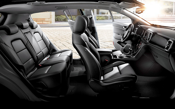 The interior of a Rio Sportage