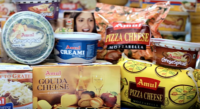 Amul produces 720,000 cheese cubes, 60,000 cheese blocks, 32,000 cheese tins, 50,000 cups of cheese spread and thousands of slices of cheese every day