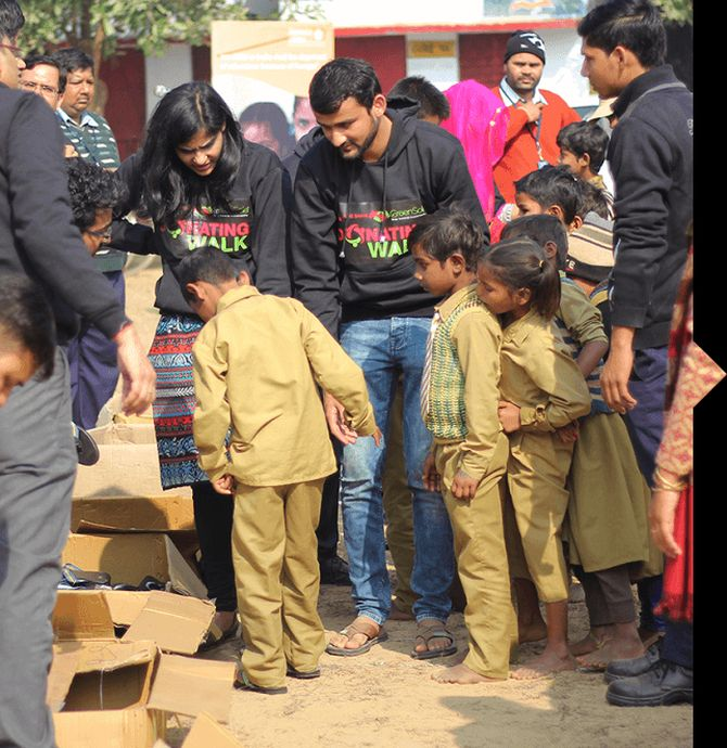 Shriyans Bhandari distributes refurbished footwear