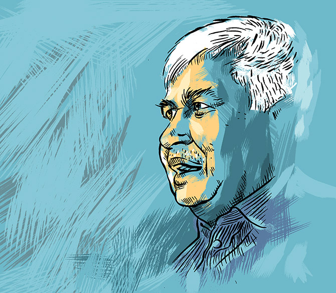 TRAI Chairman Ram Sewak Sharma. Illustration: Dominic Xavier